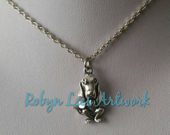 Silver Basset Hound Dog Charm Necklace on Silver Crossed Chain or Black Faux Suede Cord. Puppy, Animals, Pets, Cute