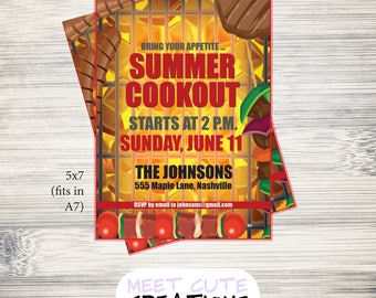 Printable Summer Cookout Grill Barbecue BBQ Gathering Party Invitations, Cards PDF Download, DIY, Custom Color, Text Option, Fast Turnaround