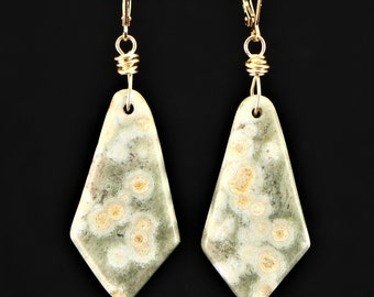 Natural, Ocean Jasper Gemstone Dangle Earrings on 14Kt Gold Filled, Leverback, Ear Wires