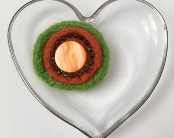 Flower Felt Brooch, Orange and Green with Beads and Button