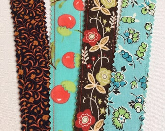 Set of 4 Pretty Fabric Bookmarks