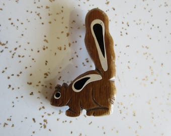 Hand Painted and Carved Wooden Squirrel or Skunk Novelty Brooch Pin