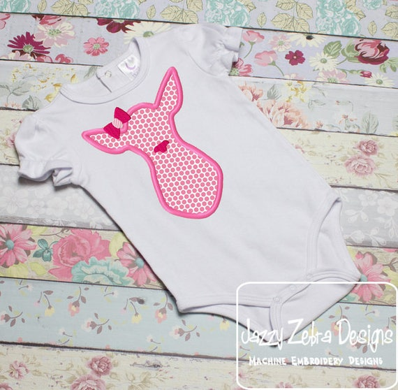 Pink Doe applique embroidery design - doe appliqué design - girl appliqué design - baby appliqué design - baby reveal appliqué design - deer