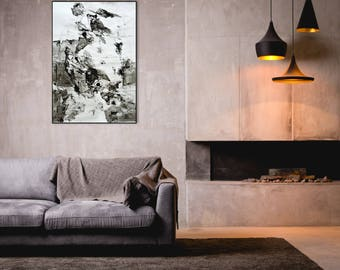 Original Ink Drawing, Abstract Art Drawing, 40x28 inches, Black and White Art, Contemporary Achromatic Ink Art