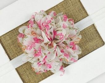 Vintage Flower Headband,Pink Baby headband,Floral Print Headband,Newborn Headband,Vintage Flower Hair Clip,Chiffon Flower Headband,baby gift