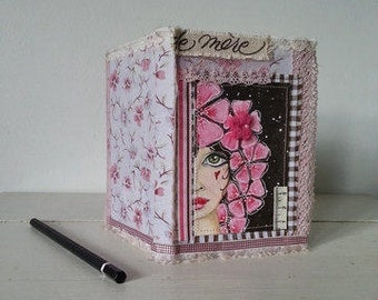 Altered Notebook Shabby Chic with Original Girl Painting