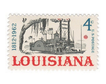 10 Unused Vintage Postage Stamps - 1962 4c Louisiana Statehood - Item No. 1197