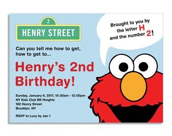 Elmo / Sesame Street Themed Birthday Invitation - Printable