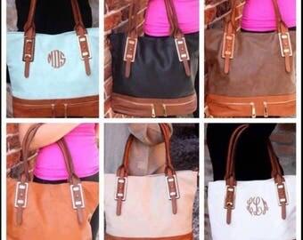 Sale!!! Two Tone Monogram Purse, Personalized Handbag, PU Leather Tote, Monogrammed Shoulder Bag, Custom Birthday Gift,