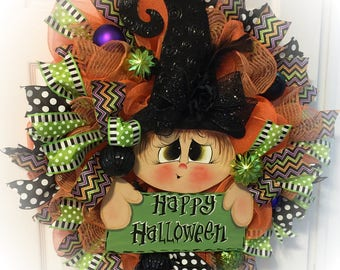 Witch Wreath, Halloween Wreath, Witch Decoration,Halloween Decoration,Witch door hanger, witch hat wreath, Halloween door hanger, Halloween
