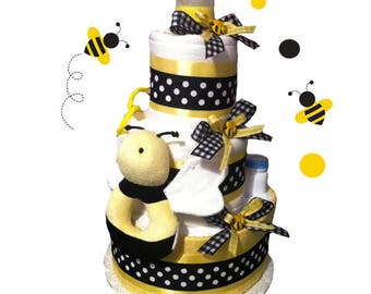 Bumblebee Diaper Cake - Baby Shower Centerpiece and Gift