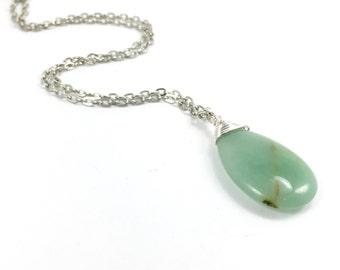 Green Aventurine Gemstone Tear Drop Wire Wrapped Pendant, Green Gemstone Pendant, Aventurine Pendant, Boho Jewelry
