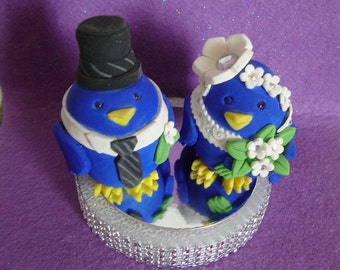 NEW:) Blue Love Birds Wedding Cake Topper/Ornament/Decoration Cold porcelain or Fondant Topper Cookiecuttercuties Design