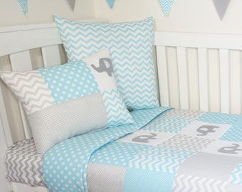 Aqua and grey elephant patchwork nursery items