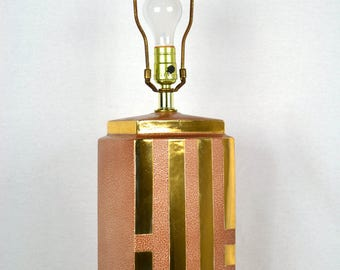 Modernist Table Lamp Gold and Mauve Rectangular Ceramic Body