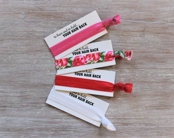 Hot Pink-Floral-Red-White-Hair Tie-to have and to hold..your hair back-will you help me tie the knot