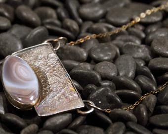 Botswana Agate Necklace with Reticulated Sterling Silver - AdornedinSilver Jewelry