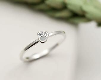 Sterling Silver Tiny Paw Print Ring - Stacking Ring - Paw Print Jewellery