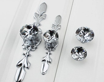 Nice Drawer Knobs Pulls Handles Rhinestone Silver Chrome Clear Dresser Knobs  Glass Kitchen Cabinet Knobs Furniture Bling