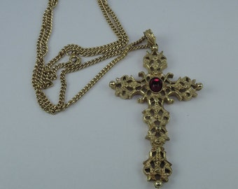 Gold Tone Avon Cross Necklace, 1970s