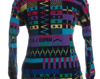 Vintage 1980's Pattern Wool Jumper 16 & Below - www.brickvintage.com