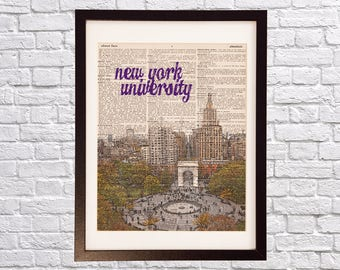 NYU Washington Square Dictionary Art Print - New York University - Print on Vintage Dictionary - Campus Print - Gift For Him or Her - NYC