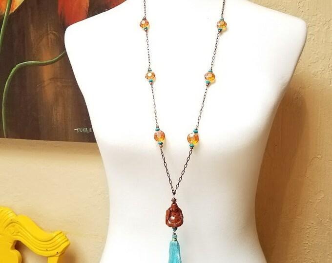 Buddha Maitreya hand carved boxwood bead copper mala-rosary style long necklace turquoise sunflower glass beads