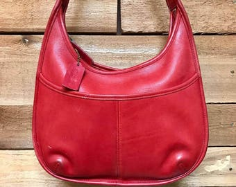 Vintage COACH Ergo Hobo Bag Designer Shoulder Purse Vtg Red Leather Handbag Made in USA