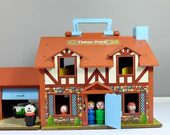 Vintage Fisher Price complete Tudor House #952 - Vintage Fisher Price Little People Toy Tudor House - Family Play House by Fisher Price
