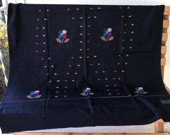 Hand Woven Kulu Lightweight Wool Shawl Black with Multicolor Traditional Tribal Pattern/40 x 92 inches/Himalayan/Indian