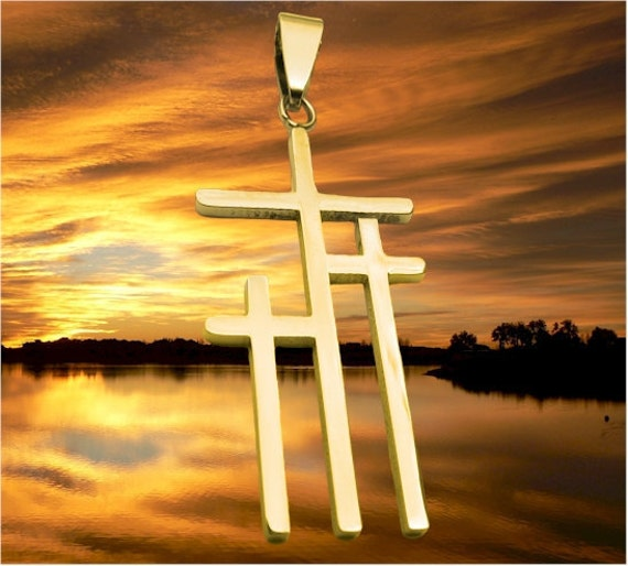 Medium Calvary 3 Cross Necklace Gold Silver Mens Boys Women Girls Fashion Christian Jewelry - Saint Michaels Jewelry - Calvary Three Cross