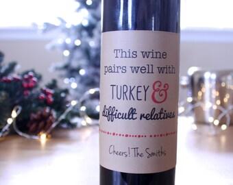 Holiday Wine Labels Christmas Wine Label Thanksgiving Wine Label Funny Wine Label Gift Idea Brown Kraft Turkey Wine Sticker Wine Gift Tag
