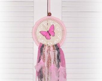 Butterfly Dreamcatcher Nursery Teen Gift Pink Crochet Beaded Wall Hanging Doily Boho Chic Hippie Feather Dream Catcher Art Wall Room Decor