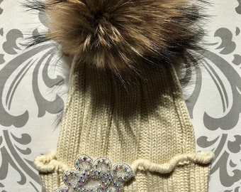 Faux Fur Pom Pom Knit Hat