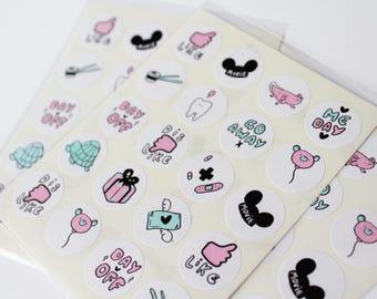 Diary Journal Sticker Sheet, kawaii, illustration, stationary, cute, organiser, Japan