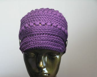 CHEMO NEWSBOY STYLE Hat - Aubergine - Deborah Norville Yarn - Lightweight - Warm and Snug - Purple Skullcap/Beanie
