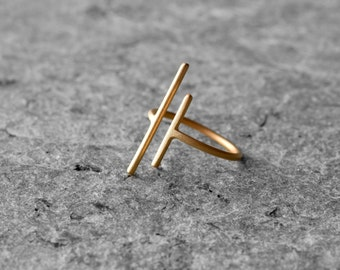 sterling silver gold plated parallel ring, geometric ring, minimalist ring, simple ring, every day ring, adjustable ring