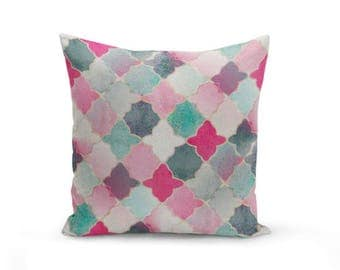 Throw Pillow Cover, Quatrefoil Pillow Cover, Pink Navy Mint Teal Decorative Pillow Cover Euro Sham Cover