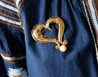 Large Heart Gold Brooch - White Pearl Brooch - Statement Gold Heart Brooch - Gold Heart Pin