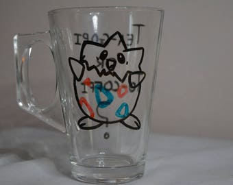 "Handmade ""Pokemon"" Togepi Glass Mug"