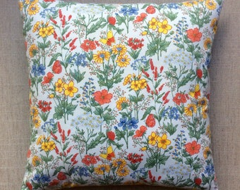 Vintage French Floral Fabric Cushion With Interior 40cm x 40cm