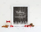 Walking in a Winter Wonderland - PRINTABLE Wall Art / Winter Wonderland / 4 Prints for Price of 1! / Christmas Print / Christmas Lyrics