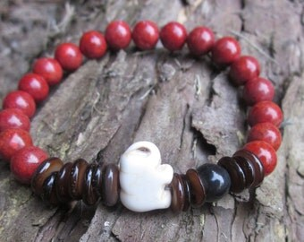 elephant mala Vibrant artisan Southwestern Stone Beaded bracelet Boho colorful mens bracelet women's bracelet yoga jewelry lucky elephant