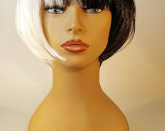 Black and White Wig, Short Black and White Wig, Black and White Sia Inspired Wig, Black and White Bob with Bangs, Black and White Bob