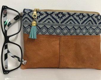Phone Pouch Tan leather/Denim