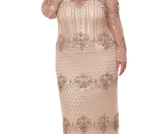 Chicago Champagne Blush Prom Maxi Dress Vintage 20s inspired