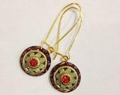 Amethyst, Pacific Opal & Padparadscha Swarovski Crystal Earrings | Three Layer Swarovski Flower Earrings | Vintage Swarovski Earrings