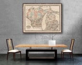 "1870 Johnson's Wisconsin and Michigan reprint, Vintage map reprint - 4 large/XL sizes up to 48""x36""- in original, black, or blue"