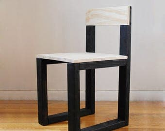 Simple Reclaimed Wood Side Chair- Black and Raw