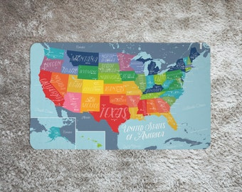Map blanket etsy united states map blanket personalized baby blanket name blanket organic swaddle blanket gumiabroncs Images